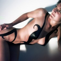 Perfect Painted Body - Brown Hair, Dark Hair, Long Hair, Small Breasts , Pretty Face, Looking Over Shoulder, Body Paint, Long Waist, On Her Knees, Slim Body, Long Dark Brown Hair, Medium Breasts, Cute Expression, Very Nice Tits