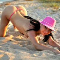 Topless Doggy In The Sand - Black Hair, Long Hair, Topless, Nude Wife , Pink Hat, Round Curvy Ass, Sand Crab, Erect Nipple, Long Black Hair, Huge Dark Eyes, Hats On, Asses Up, Pink Hat And G String