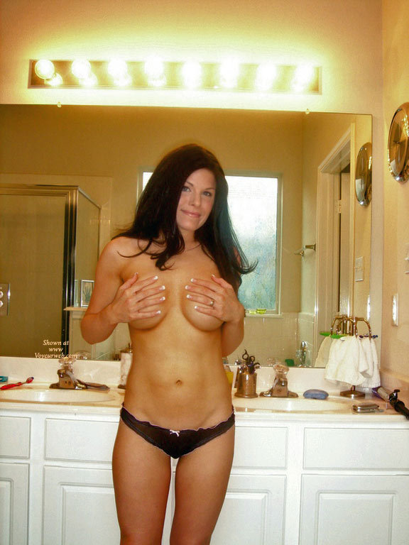 Sexy MILF - Big Tits, Black Hair, Dark Hair, Large Breasts, Long Hair, Milf, Topless , Full Firm Breasts, Black Thong With Pink Trim And Bow, Topless Wife, Topless Milf, Hands On Big Tits, Wife In Bathroom