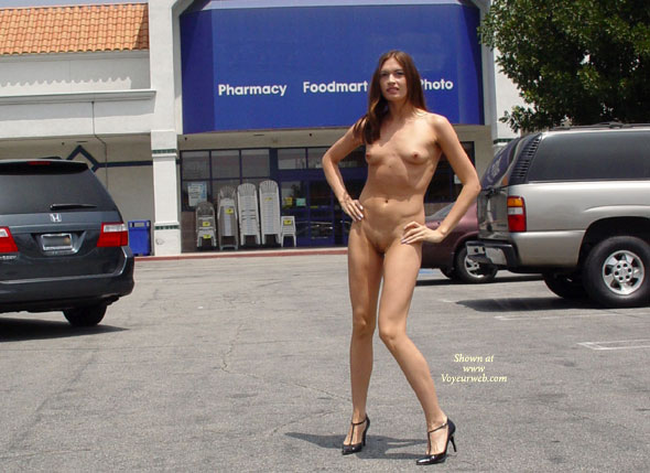 Exposed Public Shopping , Exposed Public Shopping, Nude Shopping, Nude Car Park, Skinny Girl, Long Legs And Heels, Small Tits In Public