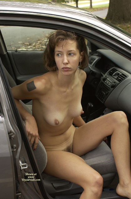 Naked In The Car - Big Nipples, Brown Hair, Exhibitionist, Hairy Bush, Hard Nipple, Tattoo , Naked In The Car, Exhibitionist, Hard Nipples, Hairy Bush, Brown Hair,  Tattoo, Big Nipples