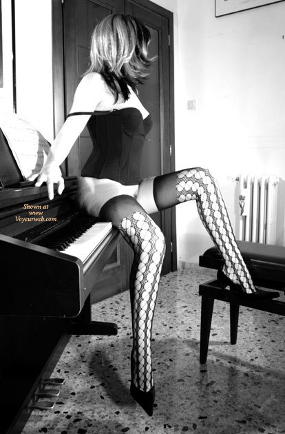 Bottomless In Corset And Thigh Highs - Bottomless, Heels, Long Legs, Stockings, Sexy Lingerie , B&w Panty-less Stockings With High Heels, Black And White, Seated On Piano Keyboard, Black Corset, Sitting Naked On My Piano, Open Weave Stockings, Patterned Stockings, Black Camisole, Piano, Black Thigh High Stockings