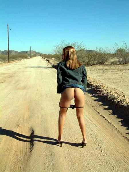 By The Road - Butt Shot , By The Road, Butt Shot, Ass Outdoors, Black Panties And High Heels