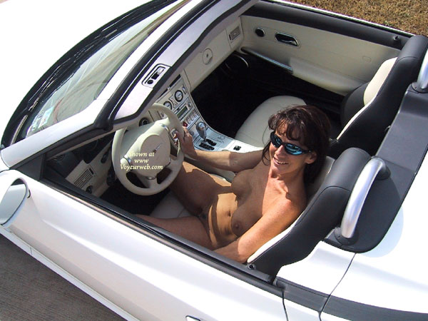 Happy Drive - Sunglasses , Happy Drive, Nude View From Above, Nude In Convertible, Sunglasses, Totally Naked, Driving