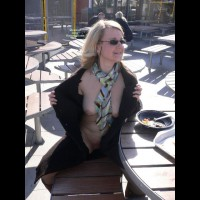Flashing In A Restaurant - Blonde Hair, Flashing Tits, Flashing, Large Aerolas, Pale Skin, Sunglasses , Small Sunglasses With Rope, Natural Boobs, Multicolored Scarf, Boots, Pale Skin Tone, Black Sunglasses, Black Overcoat, Flashing Outside Cafe, Flashing Outdoors, Flashing The Front Of Her Body