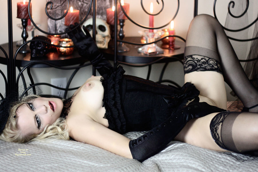 Dressed To Kill - Erect Nipples, Stockings, Naked Girl , Pale Skin, Candle Light And Skulls, Black Corset, Corset Pulled Down, Panties Pulled Up, Corseted Beauty, Black Gloves