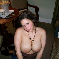 Wife's Big Tits - Big Tits, Dark Hair, Large Aerolas, Topless , Curly Dark Hair, Bottomless Wife, Topless On The Floor, Wife Photos, Large Round Tits, Necklace With Large Boobs