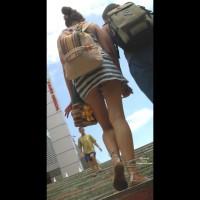 Street Upskirt - Brunette Hair, Long Legs , Upskirt, Round Ass, Upskirt On Stairs, Street Voyeur, Climbing Stair With Buttcheeks Exposed, Short Skirt, Sandals