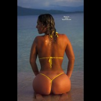 At The Beach - At The Beach, Rear View, Round Ass , At The Beach, Round Ass, All Over Tan, String Bikini At Sunset, Yellow String Bikini, Yellow Mikrokini, Kneeling In Water, Rear Shot