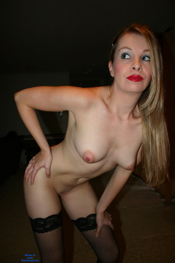 Nude Milf Bending Forward - Milf, Nude Wife , Bend Over, Nude Wife On Heels, Stockings Only, Slim Body, Black Fishnet Thigh Highs, Torpedo Tits, Hand On Hip, Puffy Nipples, Red Lipstick, Naked Milf