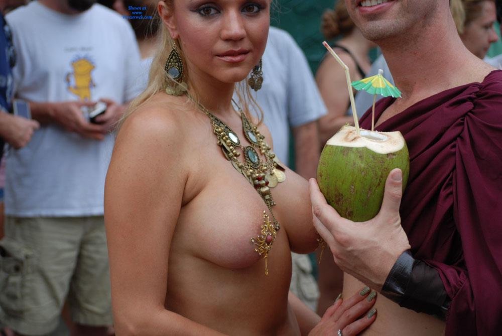 Jugs & Nuts - Blonde Hair, Long Hair, Topless , Jewelled Nipples, Topless In Public, Large Breast, Pierced Nipple, Long Nipple, Festival Voyeur, Jeweled Jugs, Nice Nipples
