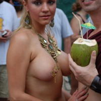 Jugs & Nuts - Blonde Hair, Long Hair, Topless , Jewelled Nipples, Topless In Public, Large Breast, Pierced Nipple, Long Nipple, Festival Voyeur, Jeweled Jugs, Nice Nipples