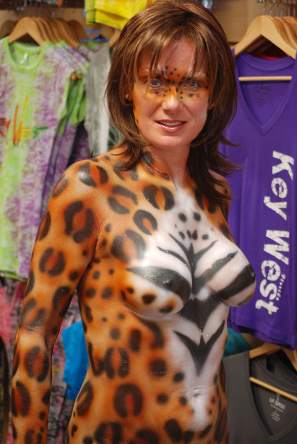 Naked Woman Body Painted At Fantasy Fest - Topless, Naked Girl , Body Painting, Body Paint, Pained Nude Girl, Tiger Lady, Festival Voyeur, Tiger Painted Tits, Topless With Body Paint, Painted Leopard