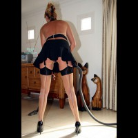 Sexy French Maid - Heels , French Maid, Sexy Vacuum Cleaning, Maid Outfit, Short Black Skirt, Fun Cleaning, Cleaning On Heels, Garters And Seemed Stockings