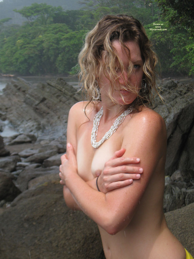 Topless Girl In The Cold - Blonde Hair, Blue Eyes, Topless, Nude Amateur , Hiding Her Tits, Nature Topless, Nipple Peek, Tanlined Tits, Outdoor, Wet Skin