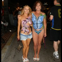 Two Painted Girls At Fantasy Fest - Blonde Hair, Brunette Hair, Topless , Mature Topless At Fantasy Fest, Blonde And Brunette, Painted Tits, Key West Fest, Festival Voyeur, Topless With Painted Tits, Fantasy Fest 2011, Bodypainted Girls, Butterfly Bodypainting