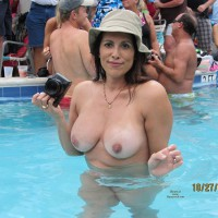 Naked Girl In Pool With Camera - Big Tits, Erect Nipples, Topless , Tanlined Titties, Big Natural Tits, Festival Voyeur, Hat And Topless, Nude In The Pool