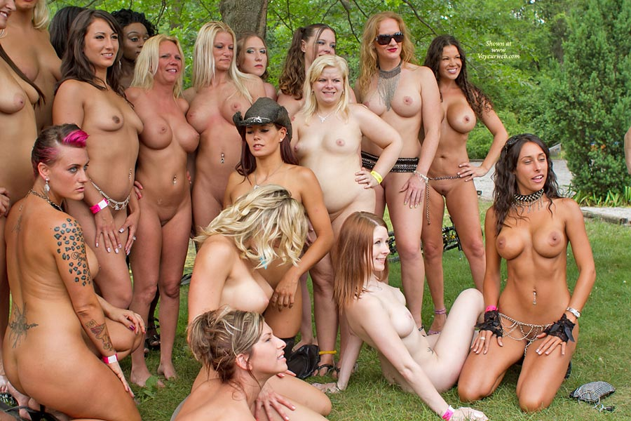 Gang Of Naked Girls Posing At Nap , Yep, They Are Still Standing There, Being Photographed At Nudes A Poppin 2011. Very Overcast Day.