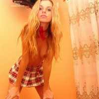 Skinny Blonde - Hanging Tits, Skirt, Topless , Skinny Blonde, Short Skirt, Topless, Hanging Breasts, Schoolgirl Skirt, Plaid Skirt, Tits Only