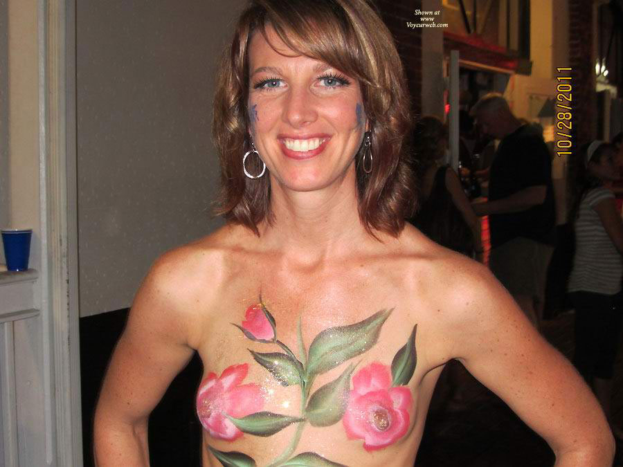 Girl With Painted Tits At Fantasy Fest - Huge Tits, Small Tits, Topless , Flower Power, Topless In Public, Sexy Mouth, Painted Tiities At Key West, Green Eyes, Tiny Tits, Festival Voyeur, Huge Nipples