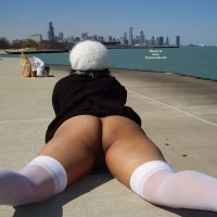 Bottomlesss Lying On Pier - Bottomless, Nude Outdoors, Spread Legs, Stockings, Hot Wife, Naked Girl, Nude Amateur , Chicago Pantyless, Pantyless, Public Nudity, Lying Flat Belly Down, White Thigh Highs, Showing Us Her Bum And Thighs, White Stockings, Black Coat, Ass Shot Outside, Lying On A Dock, Looking North, Lying On Front, Public