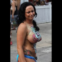 Huge Painted Tits At Fantasy Fest - Black Hair, Huge Tits, Long Hair, Topless , Frowning Face, Festival Voyeur, Air Brushed Skin, Topless With Body Paint, Long Black Hair