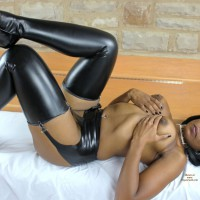 Black Beauty Topless With Leather Stockings - Erect Nipples, Heels, Topless, Naked Girl , Black Leather Hose, Big Areola, Hand Bra, Black Leather Garter, Eye Candy, Lying On The Floor, Black Boots Vinyl