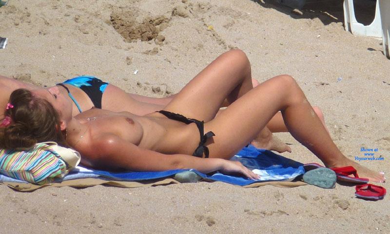 Interesting Swimsuit , This Slim Brunette Choise One Interesting/strange Bikini For Beach