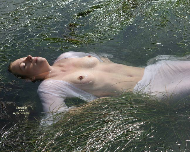 Floating Beauty - Erect Nipples, Topless , In Water, Very Flat Stomach, Nipples And Nose Above Water, Floating, Topless Floating, Nipples In The Lake, Hard Nips, Lying In Water, See Through
