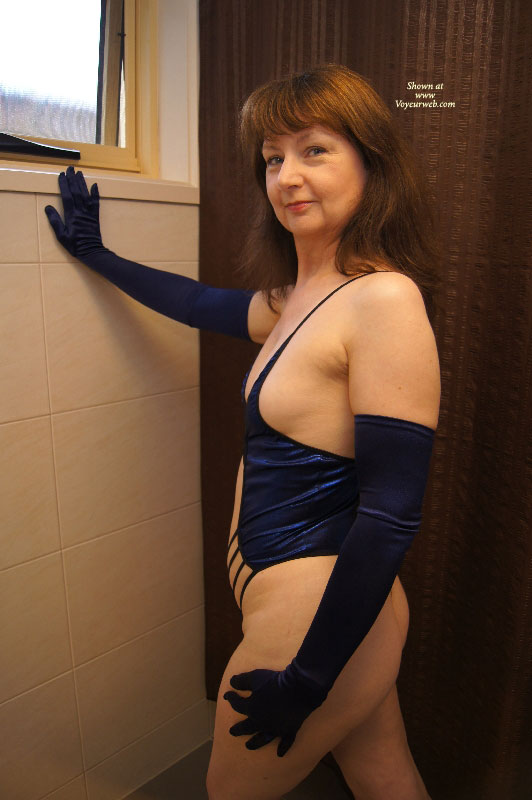 AussieLouise - Blue Outfit #1 , Thanks For The Nice Comments On My Two Submissions Last Month. Change Of Colour To Blue This Time. They Were Taken At A Motel In Geelong - These Ones Were All In The Bathroom.