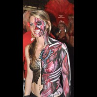 Nude Painted Girl On Street - Blonde Hair, Topless, Naked Girl , Body Paint, Key West Festival, Body Paint In Public, Painted Tits, Sexy Smile, Festival Voyeur, Firm Medium Breasts, Topless And Body Paint