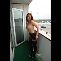 Black Stockings - Big Tits, Heels, Redhead, Stockings, Topless Outdoors , Black Stockings, Redhead, Big Tits, Girl On Balcony, Red Head, Topless Outdoors, High Heels, Large Round Tits