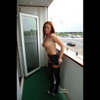Black Stockings - Big Tits, Heels, Redhead, Stockings, Topless Outdoors , Black Stockings, Redhead, Big Tits, Girl On Balcony, Red Head, Topless Outdoors, High Heels, Large Round Tits