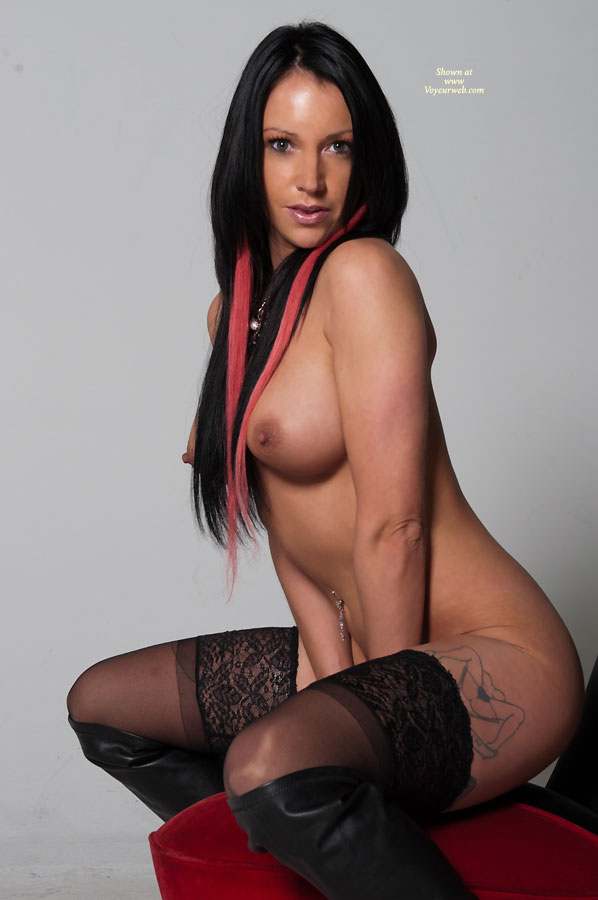 Squatting Topless And Bottomless Profile - Black Hair, Long Hair, Perfect Tits, Stockings, Topless , Big Erect Nipples, Long Black Hair, Nude Friend On Heels, Medium Breasts, Navel Ring, High Boots, Cold Nipples