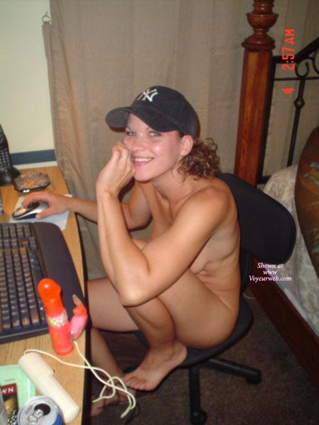 at computer Naked