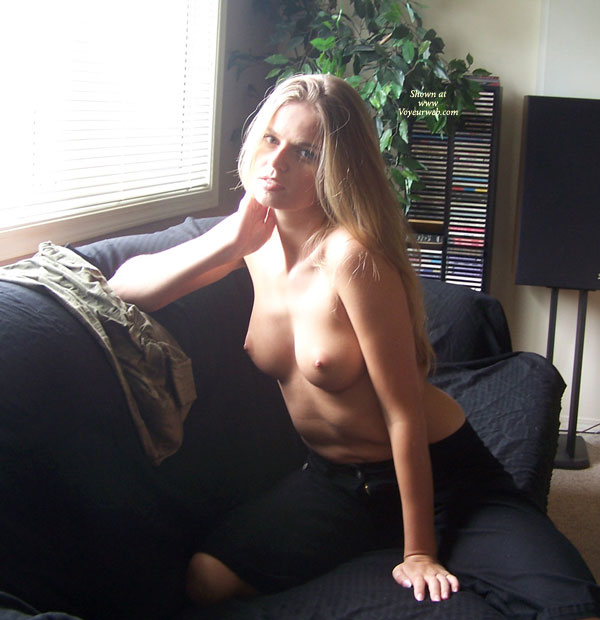 Posing At The Window - Perky Tits, Topless Blonde, Looking At The Camera , Posing At The Window, Perky Tits, Topless Blonde, Looking Into Camera