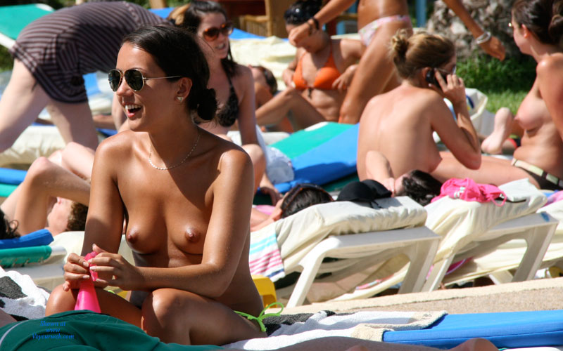 Candid Topless Girl On Beach - Brown Hair, Milf, Small Breasts, Topless, Beach Voyeur , Brown Hair In A Ponytail, Tan Skin, Sitting On Beach Chair, Kissed By The Sun, Topless Girl On Beach, Sexy Topless Chick
