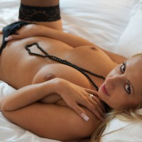 Topless Chick On Bed Hand In Panty - Stockings, Topless , Small Nipples, Black Thong, Lying On A Bed, Topless Amateur, I Touch Myself, Evenly Tanned, Black Beads, Masturbating Beauty, Soft Round Tits