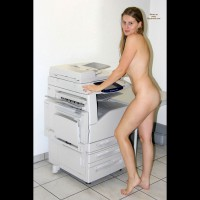 Nude Girl At Copier Machine - Long Hair, Naked Girl , Long Sandy Hair, Side View, Small Butt, Thin Body, Naked Office Girl