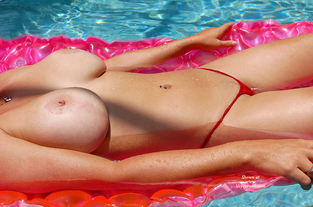 Nude Big Breasted On Float In Pool - Inverted Nipples, Sexy Panties , Nude Big Breasted On Float In Pool, Micro Panties, Big Saggers, Inverted Nipples, Red String Thong, Huge Boobs