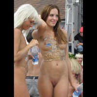 Human Canvas - Brown Hair, Long Hair, Shaved Pussy, Small Breasts, Small Tits, Bald Pussy , Body Paint, Small Painted Tits, Festival, Event Voyeur, Painted Body, Painted Ladies