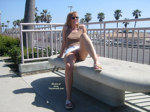 Showing Pussy , Showing Pussy, Public Show, Outdoor Exposure, No Panties Outside, Sitting On Bench, Crotch Shot