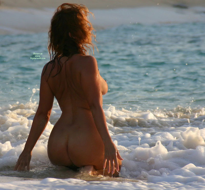 Kneeling In The Surf - Round Ass, Naked Girl, Nude Amateur , One Boob Showing, Kneeling In The Sea, On Knees, Arched Back, Nude Backside, Nude At Beach, Waves Playing Naked, In The Surf, Arms Held Back