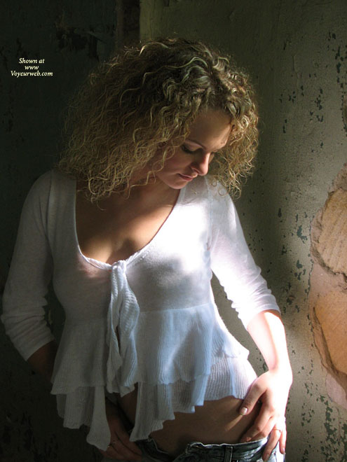 Into The Shadow - Undressing , Into The Shadow, Blonde Undressing, White Seethrough Top, Slipping Jeans Off