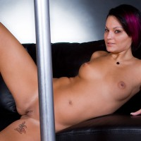 Nude Girl Lying Back Nude Behind Pole - Red Hair, Shaved Pussy, Bald Pussy, Naked Girl , Purple Hair, Spread On The Sofa, Painted Nails, Lying On Couch Behind Dance Pole, Reclining Nude, Cute Lips (labia), How Big Is Your Pole?, Highlights In Hair