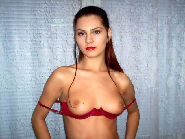 Strands Of Hair Framing Tits - Brown Hair, Firm Tits, Long Hair, Red Hair, Small Tits, Topless, Looking At The Camera , Small Nipples, Topless Girl Inside, Looking Into Camera, Indoor Tits, The Boobs Are Out, Small Firm Tits, Lady In Red, Hair Combed Back, Long Auburn Hair, Red Cupless Bra, Red Lipstick, Silver Earring