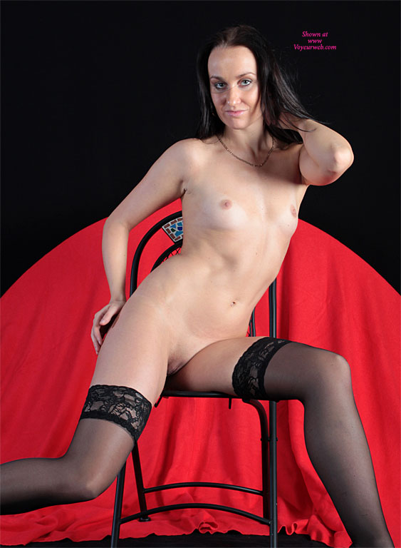 Frontal Nude Seated On Chair - Black Hair, Dark Hair, Long Hair, Natural Tits, Shaved Pussy, Small Breasts, Small Tits, Stockings, Tan Lines, Bald Pussy, Hairless Pussy, Looking At The Camera, Nude Amateur, Sexy Lingerie , Very Small Breasts, Small Tits Tight Pussy, Nude Friend, Black Hose, Red Background, Thigh Highs, Black Long Hair, Black Stayups