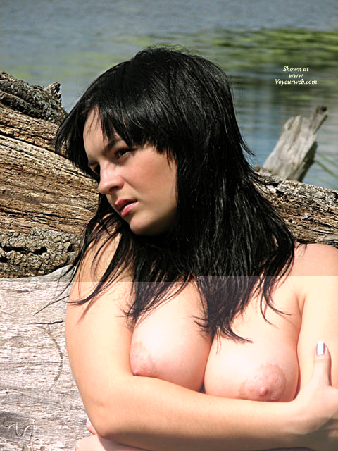 Arms Crossed - Topless Outdoors , Arms Crossed, Topless Outdoors, Black Haired Beauty, Boob Hug, Breast Supporters