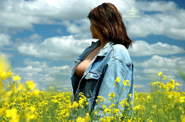 Open Denim Jacket - Big Tits , Open Denim Jacket, Levi Jacket, Big Tits, Tit Exposed In Field Of Flowers