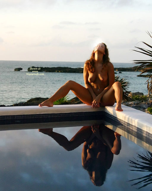 Covered Spread - Spread Legs , Covered Spread, Nude Reflections, Beauty At Pool And Sea, Double Image, Sunning By The Pool, Nude By Water, Spreading Legs